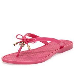 76cff31df6a8 Tory Burch Shoes - New Tory Burch Jelly Bow Logo Charm Thong Sandal
